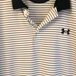 UA Red and Black Striped Performance Polo